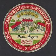 Etiquette De Fromage Camembert  -  Mon Régal  -  Laiterie Marais Duval à Saint Lambert  (61) - Cheese