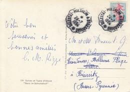 CP Affr Y&T 1233 Obl SELESTAT - MOLSHEIM - STRASBOURG * [3391] Du 24.7.1964 Adressée à Paris, Réadressée à Biarritz - Bahnpost