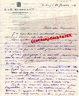 67- STRASBOURG- RARE LETTRE MANUSCRITE A. & E. KUHFF -6 RUE DE LA NUEE BLEUE-SPECIALISTE VINS ALSACE-RHIN MOSELLE-1926 - Old Professions