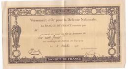 Titre De La Banque De France - Versement D'or Pour La Défense Nationale (1916). Bon état. - Actions & Titres