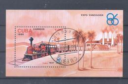 1986  Kuba  Mi-3023  2. Mai Weltausstellung EXPO 1986 Vancouver Lokomotiven - Blocs-feuillets
