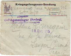 LETTRE KRIEGSGEFANGENEN PRISONNIER DE GUERRE POUR LANGON GIRONDE - 18/10/1915 - Marcophilie (Lettres)