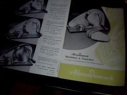 Publicité Tract  3  Pages ALEXANDERWERK Machine A Trancher Paul Van Thune Paris Annee 50/60 - Autres