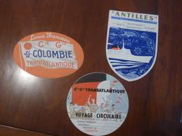 3 ETIQUETTES BAGAGE PAQUEBOT SOCIETE GENERALE TRANSATLANTIQUE ANTILLES COLOMBIE ANNEE CIRCA 40-50 Tbe - Bateaux