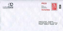 """POSTREPONSE LETTRE PRIO """"Institut CURIE"""" Avec Timbre """"Marianne L'Engagée"""" - Entiers Postaux"""