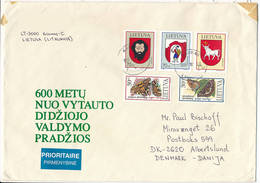 Multiple Stamps Cover - 30 October 1998 Kaunas To Denmark - Lithuania