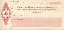MONACO  CHECK CHEQUE CREDIT FONCIER MONTECARLO 1930'S REVENUE - Assegni & Assegni Di Viaggio