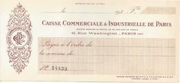 FRANCE  CHECK CHEQUE CAISSE COMM. & INDUSTRIELLE DE PARIS 1930'S LARGE - Assegni & Assegni Di Viaggio