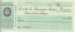 SWITZERLAND CHECK CHEQUE SOCIETE DE BANQUE 1960'S GENEVE - Chèques & Chèques De Voyage
