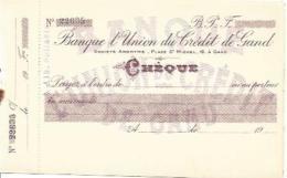 CHECK CHEQUE BELGIUM BANQUE UNION DE CRÉDIT DE GAND 1930'S - Chèques & Chèques De Voyage