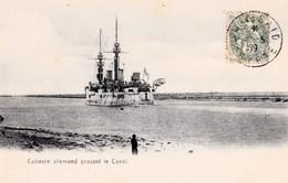 CPA  Egypte Suez Guerre Cuirassé Allemand Passant Le Canal TBE - Sues