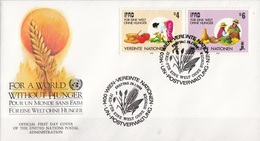 United Nations Vienna 1988 ONU Vereinte Nationen Wien FDC Per Un Mondo Senza Fame - Contro La Fame
