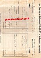 34- BEZIERS- RARE FACTURE CAVE COOPERATIVE VINIFICATION ILLE SUR TET- 1934  ETIENNE BOYER 1945 - Food