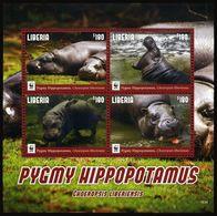 WWF W.W.F. Liberia MNH Perf Souvenir Sheet 2016 : Pygmy Hippopotamus - Unused Stamps