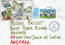 """Bande Dessinée.Timbre """"The Peanuts"""" Du Caricaturiste Américain Charles Monroe Schulz, Sur Lettre Adressée Andorra - Comics"""