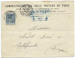 ENVELOPPE 15 C SAGE / PARIS DEPART 1900 / ADMINISTRATION DES COLIS POSTAUX / POUR VILLEFRANCHE - Marcofilia (sobres)