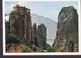 Greece PPC Meteora Rocks Of Roussanou Monastery 1987 To Denmark Actor Kariva (2 Scans) - Grecia