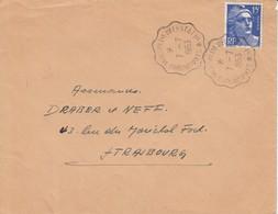 Env Affr Y&T 886 Obl STRASBOURG - MOLSHEIM - SELESTAT 1° * [3391A] Du 7.7.1953 Adressée à Strasbourg - Bahnpost