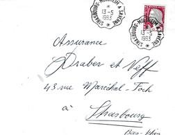 Env Affr Y&T 1263 Obl STRASBOURG - MOLSHEIM A SAVERNE * [3383] Du 13.5.1963 Adressée à Strasbourg - Bahnpost