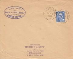 Env Affr Y&T 886 Obl STRASBOURG - SAALES 1° * [3344] Du 21.6.1952 Adressée à Strasbourg - Bahnpost