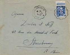 Env Affr Y&T 886 Obl STRASBOURG - SAVERNE 1° * [3379] Du 6.9.1952 Adressée à Strasbourg - Bahnpost