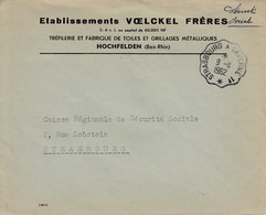 Env En Franchise Postale Obl STRASBOURG - SAVERNE 1° * [3379] Du 9.11.1952 Adressée à Strasbourg - Bahnpost