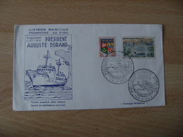 President Auguste Durand Ile D Yeu Paquebot Martime Liaison Fromentine Obliteration Sur Lettre - Poststempel (Briefe)