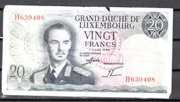 Luxemburg 7-3-1966, 20 Francs Nr H 639408 - Luxembourg