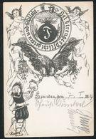 Ansichtskarte Abiturientia Berlin Spandau Handgemalt Gelaufen 1910 Selten - Schulen