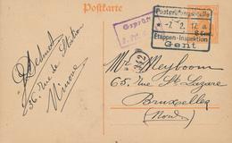 623/27 - Entier Germania Etappen GENT 1917 Vers BXL - Expéd. Desmet à NINOVE - Guerre 14-18