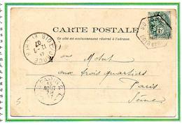 France 5c Blanc Sur Carte N° 111 Y. Et T. Cachet Type E4 De Bouffry Loir Et Cher Du 12 Août 1907 - Marcophilie (Lettres)