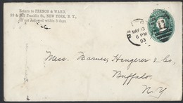 11us.Stamp Envelope 2 Cents. Passed Mail In 1893 From The City Of New York To The City Of Buffalo. - 1847-99 Algemene Uitgaves
