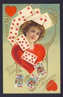 PLAYING CARD CARDS Heart Hearts Blonde Lady ~ To My Valentine Queen Of My Heart - Playing Cards