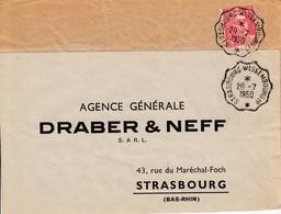 Env Affr Y&T 813 Obl STRASBOURG - WISSEMBOURG 1° * [3417] Du 20.7.1950 Adressée à Strasbourg - Bahnpost