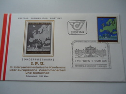 AUSTRIA  FDC 1978 I.P.U MAP EUROPA - Organizations