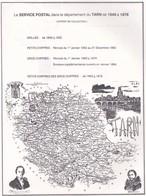 1849-1876 - Le Service Postal Dans Le Département Du Tarn - (extrait De Collection) - 84 P. Anonyme, Sans Date - Ronéoté - Filatelia E Historia De Correos