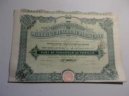 Marbrerie Funéraire Parisienne (1910) Saint Ouen - Acciones & Títulos