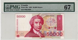 "CROATIA 50000 DINARA 1993 PMG 67 UNC P-26a ""free Shipping Via Registered Air Mail"" - Croatia"