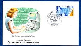 Enveloppe 1er Jour  / Les Services Financiers De La Poste / Heillecourt / 17 Mars  1990 - 1990-1999