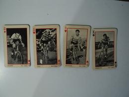 LOT DE 4 CARTES A JOUER L EQUIPE. CYCLISME. ANNEES 50 BALDINI / GEMINIANI / RONCHINI ET GAUL. - Cyclisme