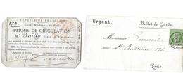 Billet De Garde Aff Du N° 35 5c Vert Cachet à Date Type 18 Du 17.12.? Plus Permis De Circulation Du 7.10.1870 TB & B - War 1870