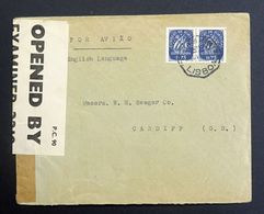 Portugal 1943 Censored Airmail Cover Opened By Examnier 2218, Lisbon To Cardiff UK. - 1910-... République