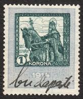 1914 Hungary - Revenue Tax Stamp - 1 K - Used - KING St. Stephen Stephanus / HORSE - Steuermarken