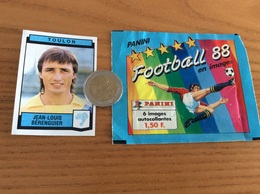 Sticker PANINI Football 88 «N°326 JEAN-LOUIS BÉRENGUIER - TOULON» + Emballage - Panini
