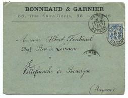 ENVELOPPE 15 C SAGE / PARIS DEPART 1898 / POUR VILLEFRANCHE - Marcofilia (sobres)