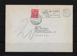 PORTO → Brief Zürich 1953 Mit 20 Rp. Strafporto - Portomarken