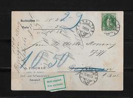 NACHNAHME / REMBOURSEMENT → G.Fischer Fehraltorf Nach Zofingen  ►SBK-67D 1899◄ - 1882-1906 Armoiries, Helvetia Debout & UPU