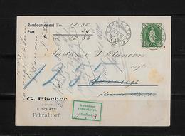 NACHNAHME / REMBOURSEMENT → G.Fischer Fehraltorf Nach Carouge  ►SBK-67D 1899◄ - 1882-1906 Armoiries, Helvetia Debout & UPU