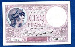 5 Francs Violet  /  3 - 8 - 33 /  SUP - 1871-1952 Antiguos Francos Circulantes En El XX Siglo