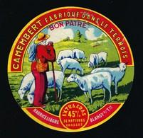 """Ancienne étiquette Fromage Camembert Fabriqué Dans Le Ternois """" Bon Patre"""" 45%mg Maurice Liagre Blangy S Ternoise 62 Pas - Formaggio"""